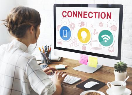 communication icons: Technology Communication Icons Symbols Concept