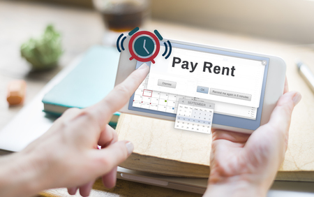 social apartment: Pay Rent Leasable Real Estate Renting Available Concept Stock Photo