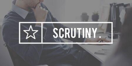 scrutiny: Scrutiny Audit Observe Investigator Magnifier Concept Stock Photo