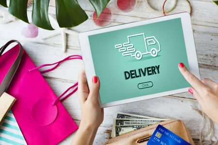 Truck Car Fast Delivery Service Concept Stock Photo