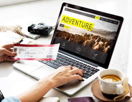 Travel Navigation Journey Vacation Trip Laptop Concept Stock Photo