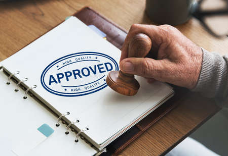 accepted label: Approved Agreement Authorized Stamp Mark Concept