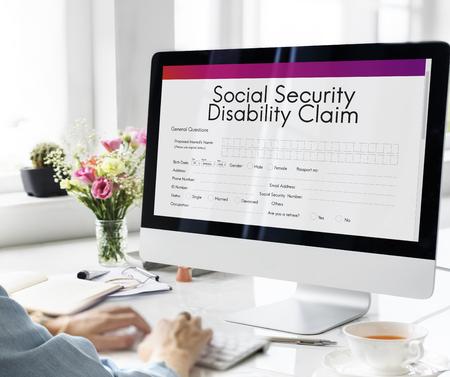 Sociální zabezpečení invalidním Nárok Concept
