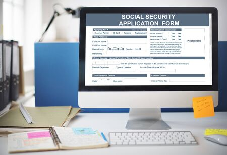 Social Security Application Form Concept Stock Photo, Picture And