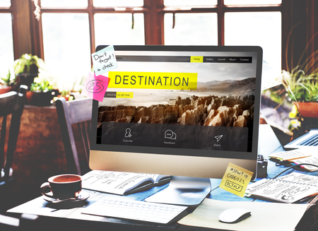 Monitor with travel destination concept