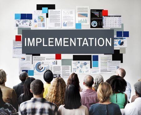 implementation: Implementation Achieve Effect Installing Perform Concept Stock Photo