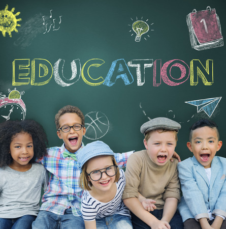 elementary age: Study Ideas Learn Kids Concept Stock Photo