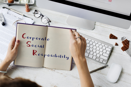 backlit keyboard: Corporate Social Responsibility Meeting Concept Stock Photo