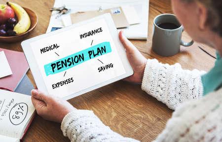 pension: Pension Plan Investment Retirement Diagram Concept