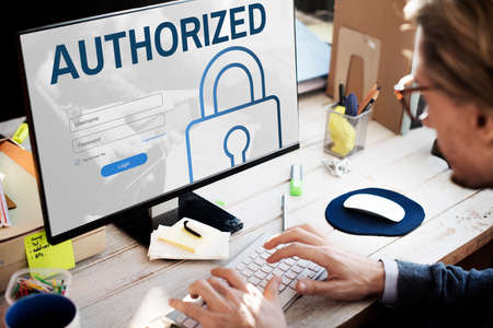 accessibility: Authorized Accessibility Network Security System Concept Stock Photo