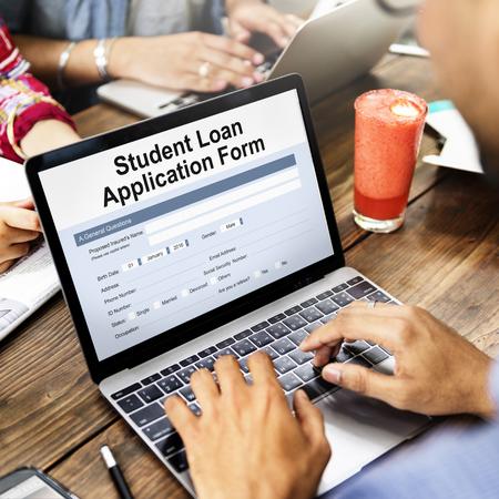 student loan: Student Loan Application Form Registration Concept