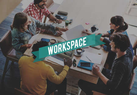 bureaucratic: Workspace Workplace Office Building Workroom Concept Stock Photo