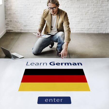 architectural studies: Learn German Language Online Education Concept