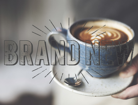 caffeinated: Brand New Release Latest Innovation Contemporary Concept Stock Photo