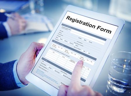 Registratie Applicatie papieren vorm Concept