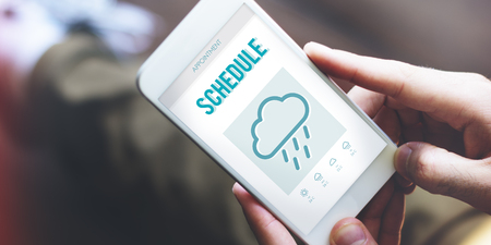 to foresee: Schedule Forecast Weather Rainy Cloud Concept Stock Photo