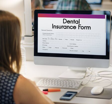 dental insurance: Dental Insurance Health Form Concept Stock Photo