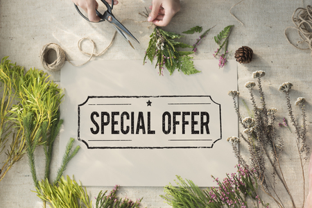 commercial tree service: Special Offer Commerce Limited Marketing Concept Stock Photo