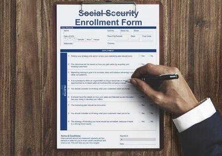 enrollment: Social Security Enrollment Form Document Concept Stock Photo