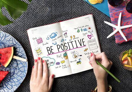 summer break: Positivity Message Cartoon Illustrations Concept