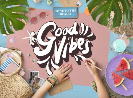 Good Vibes Positive Motivation Inspiration Concept Stock Photo