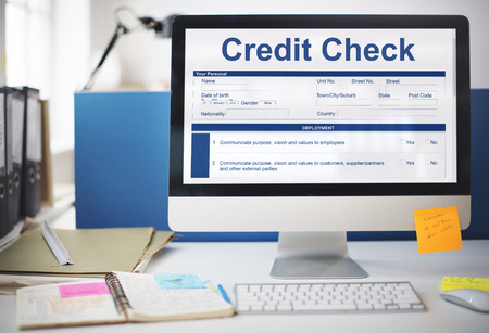 customer records: Credit Check Financial Accounting Request Form Concept Stock Photo