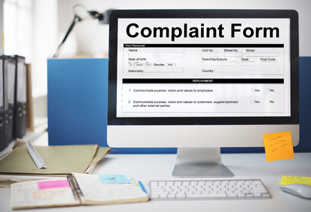 Complaint form in a computer monitor