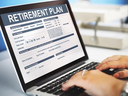 Estructura financiera Seguros Formulario Plan de Retiro Foto de archivo - 63223065