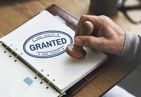 granted: Granted Certified Mark Result Selection Status Concept Stock Photo