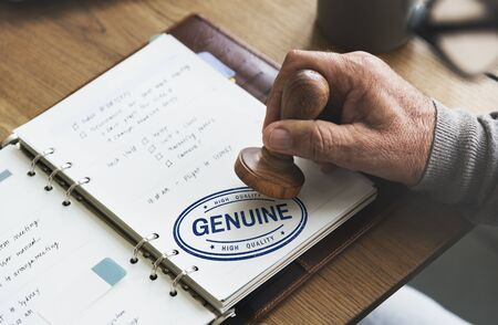 genuine: Genuine Authentic License Product Real Trademark Concept Stock Photo