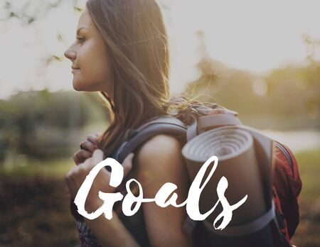 oriented: Goals Target Aspirations Purpose Aim Strategy Concept Stock Photo