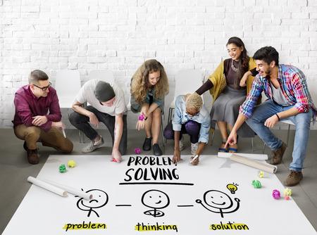Probleemoplossing Creatieve denken Brainstorm People Concept Stockfoto