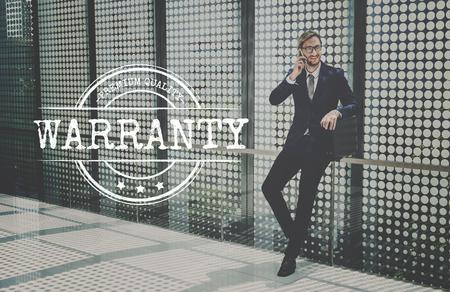 businessman waiting call: Quality Service Guaranteed Premium Quality Concept