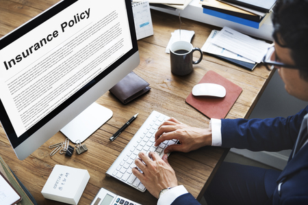 insurance policy: Insurance Policy Agreement Terms Document Concept Stock Photo