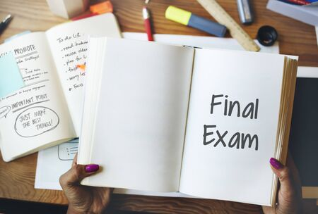Final Exam Results Test Reading Books Words Concept Stock Photo