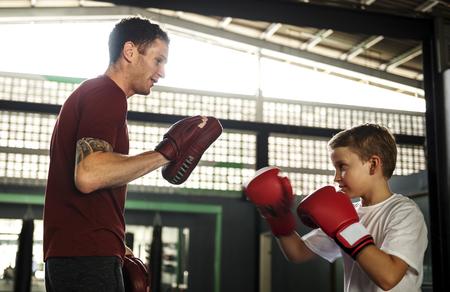 boy boxing: Boy Training Boxing Exercise Movement Concept Stock Photo