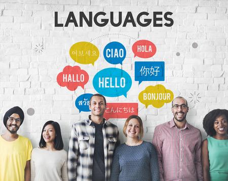 idiomas: Saludos multilingües Idiomas Concept Foto de archivo