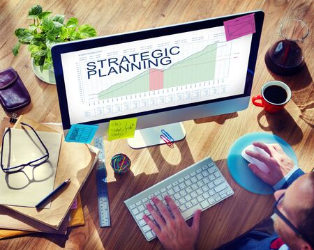 strategic plan: Strategic Plan Graphs Business Marketing Goals concept