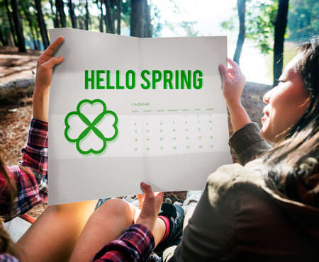 camping site: Spring Break Weather Planner Concept Stock Photo