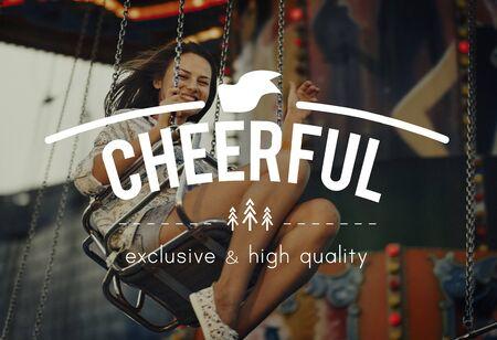 carnival ride: Woman Carnival Ride Riding Happiness Fun Concept