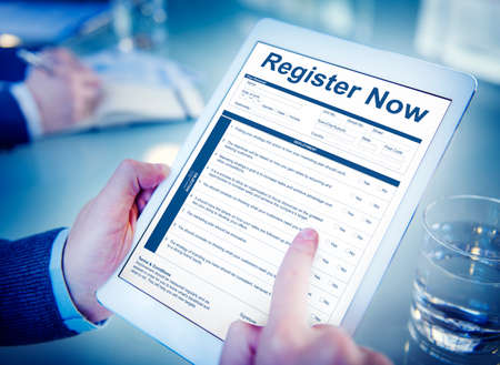 questionaire: Register Now Document FIlling Form Concept Stock Photo