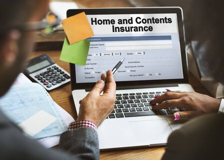 homeowners insurance: Home and Contents Insurance Form Document Concept