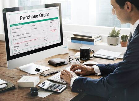 purchases: Purchase Order Form Payslip Concept Stock Photo