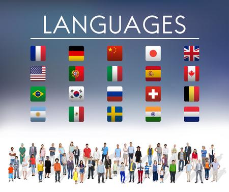 jobs: International Languages Flag Display Concept Stock Photo
