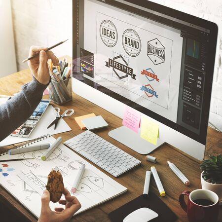 Ideas Creative Occupation Design Studio Drawing Startup Concept Imagens