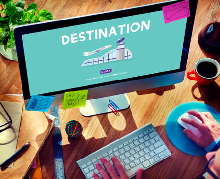 airplane take off: Destination Business Trip Flights Travel Concept Stock Photo
