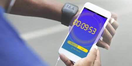 brisk: Stopwatch New Record Time Concept Stock Photo
