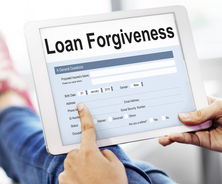 forgiving: Loan Forgiveness Debt Filling Application Concept