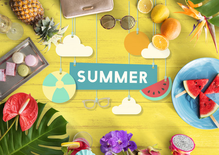 sunglassess: Summer Break Fun Party Banner Concept Stock Photo