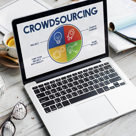 Laptop with crowd sourcing concept